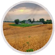 Fields Of Gold, Illinois Round Beach Towel