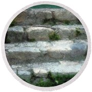 Fieldstone Stairs New England Round Beach Towel
