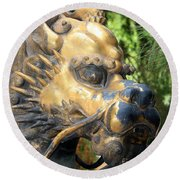 Fierce Foo Dog Face Round Beach Towel