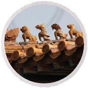 Fierce Guardians Of The Forbidden City Round Beach Towel
