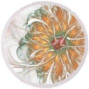 Fiery Chrysanthemum Round Beach Towel