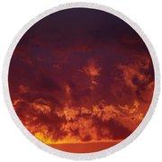 Fiery Clouds Round Beach Towel