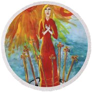 Fiery Eight Of Swords Illustrated Round Beach Towel