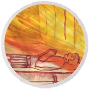 Fiery Four Of Swords Illustrated Round Beach Towel