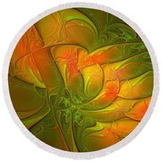 Fiery Glow Round Beach Towel