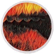 A Hot Valley Of Flames Round Beach Towel