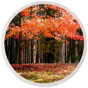 Fiery Leaves Round Beach Towel