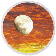 Fiery Moon Round Beach Towel