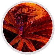 Fiery Palm Round Beach Towel