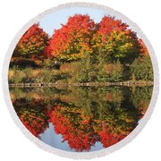 Fiery Reflections Round Beach Towel