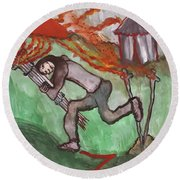 Fiery Seven Of Swords Illustrated Round Beach Towel