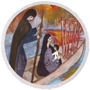 Fiery Six Of Swords Illustrated Round Beach Towel