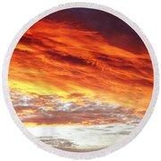 Fiery Sky Round Beach Towel