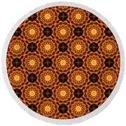 Fiery Sunflower Wallpaper Round Beach Towel