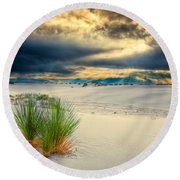 Fiery Sunrise At White Sands Round Beach Towel