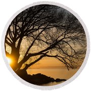 Fiery Sunrise - Like A Golden Portal To Another World Round Beach Towel
