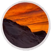Fiery Sunset Over The Dunes Round Beach Towel