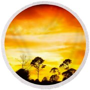 Fiery Sunset Round Beach Towel