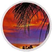 Fiery Sunset With Palm Tree Round Beach Towel