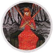 Fiery Two Of Swords Illustrated Round Beach Towel