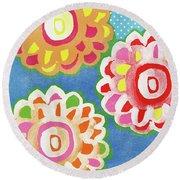 Fiesta Floral 3- Art By Linda Woods Round Beach Towel