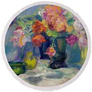 Fiesta Of Flowers - Vibrant Original Impressionist Oil Painting Round Beach Towel