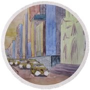 Fifth Ave At Dawn Round Beach Towel