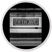 Fifth Ave Subway Round Beach Towel