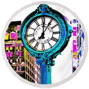 Fifth Avenue Building Clock New York  Round Beach Towel