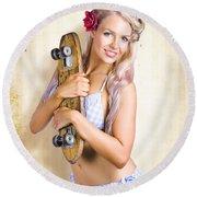 Fifties And Sixties Australian Surf Skate Culture Round Beach Towel