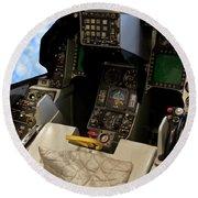 Fighter Jet Cockpit 01 Round Beach Towel