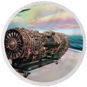 Fighter Jet Engine Round Beach Towel