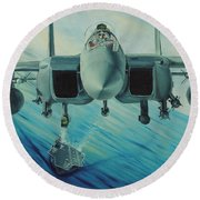 Fighter Jet Round Beach Towel