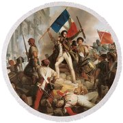 Fighting At The Hotel De Ville Round Beach Towel