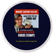 Fighting Dollars Wanted Round Beach Towel