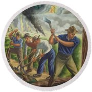 Fighting Forest Fire Round Beach Towel