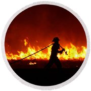 Fighting The Fire Round Beach Towel