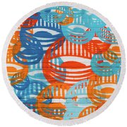 Fights Of Delight Round Beach Towel