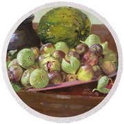 Figs And Cantaloupe Round Beach Towel