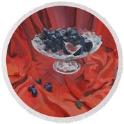 Figs And Grapes On Red  Round Beach Towel