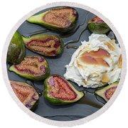 Figs Dessert With Mascarpone Round Beach Towel