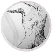Figure Drawing 5 Round Beach Towel