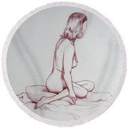 Figure Study Round Beach Towel