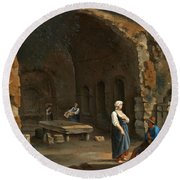 Figures At The Cave Of Egeria Round Beach Towel