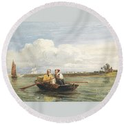 Figures In A Boat On The Thames, Gravesend Round Beach Towel
