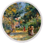Figures In A Garden Round Beach Towel