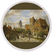 Figures In The Streets Of A Wintry Dutch Town Round Beach Towel
