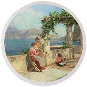 Figures On A Terrace In Capri  Round Beach Towel