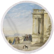Figures On A Terrace With Greyhounds Round Beach Towel