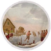Figures Skating In A Winter Landscape Round Beach Towel